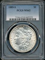 1889-S MORGAN SILVER DOLLAR PCGS MINT STATE 62 WHITE W/A TOUCH OF TONING AT THE RIM
