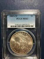 1885 CC MORGAN SILVER DOLLAR, PCGS AT MINT STATE 63