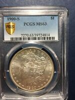 1900-S MORGAN SILVER DOLLAR, PCGS, MINT STATE 63