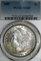 RAINBOW TONED 1881-P MORGAN SILVER DOLLAR THAT PCGS GRADED MINT STATE 63 41094768