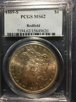 1889-S MORGAN SILVER DOLLAR, PCGS, MINT STATE 62