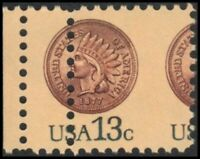 US 1734 MNH EFO: COOL MISPERF WITH PRINTED GUTTER