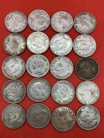 LOT OF 20 MIXED RANDOM CANADIAN SILVER QUARTERS. KING GEORGE