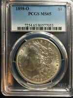 1898-O MORGAN SILVER DOLLAR, PCGS, MINT STATE 65