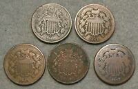 5 PIECE TWO CENT PIECE UNITED STATES TYPE COIN LOT  2 1864 1