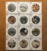 4TH PRINT COMPLETE SET OF 25 CENTS AAFES POGS 2004. TOTAL 0F 12. UNCIRCULATED.