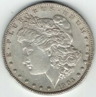 1903-P $1 MORGAN SILVER DOLLAR, BETTER DATE, GREAT FOR DATE SET EXTRA FINE /AU