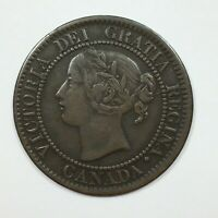 1859 9 OVER INV. 9 REPUNCHED 9 10 CANADA CENT COIN FINE
