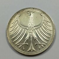 1951 F GERMANY 5 MARK COIN SILVER UNC KM 112.1