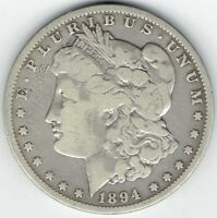 1894-O $1 MORGAN SILVER DOLLAR, BETTER DATE, LIKELY CLEANED