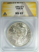 1881 O SILVER MORGAN DOLLAR ANACS MINT STATE 63 VAM 36 DOUBLED 8-1, O SET LEFT, TILTED