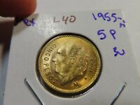L40 MEXICO 1955 GOLD 5 PESOS BU