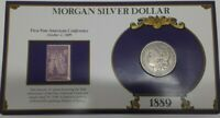 1889 MORGAN SILVER DOLLAR W/STAMP IN HOLDER - 1ST PAN-AMERICAN CONFERENCE
