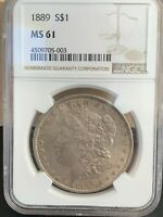 1889 MORGAN SILVER DOLLAR MINT STATE 61 NGC