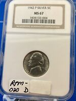 1942 P NGC MS 67  SILVER GEM  UNCIRCULATED JEFFERSON NICKEL