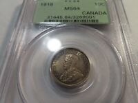 Q14 CANADA 1918 10 CENTS PCGS MS 64 OGH