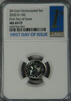 2020 D ROOSEVELT DIME NGC PL MS69FT MS69 FT FULL TORCH FIRST