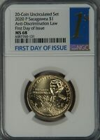 2020 P SACAGAWEA NATIVE DOLLAR NGC MS68 MS68 FIRST DAY OF IS