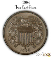 1864 TWO CENT PIECE VERY HIGH GRADE. LARGE MOTTO. SUPER CHOI
