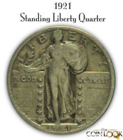 1921 STANDING LIBERTY QUARTER TOUGH DATE. NICE EARLY SILVER