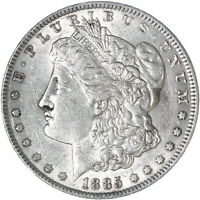 1885 MORGAN SILVER DOLLAR ABOUT UNCIRCULATED AU SEE PICS F590