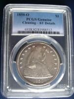 1850 O PCGS AU DETAILS CLEANED SEATED DOLLAR