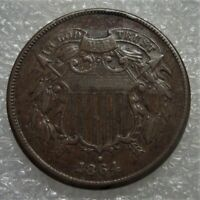 1864 TWO CENT PIECE WITH ADVANCED REV DIE CRACKING