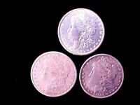 3 DIFFERENT MORGAN SILVER DOLLARS 1883-S, 1889, & 1900 SHIPPED FREE IN ONE DAY