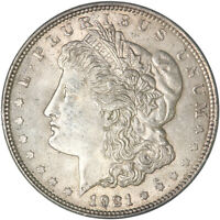 1921 MORGAN SILVER DOLLAR ABOUT UNCIRCULATED AU SLIDER SEE PICS F205