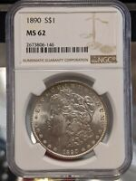 1890-S NGC MINT STATE 62 MORGAN SILVER DOLLAR