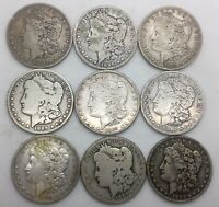 1881O - 1896O MORGAN SILVER DOLLAR LOT 9 CULL OR BETTER COINS W/ISSUES SEE PIX
