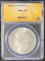 1881-O $1 MORGAN SILVER DOLLAR ANACS SLAB MINT STATE 63