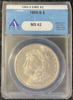 1889-S $1 MORGAN SILVER DOLLAR KEY DATE ANACS SLAB MINT STATE 62