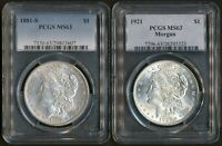 PCGS MINT STATE 63 LOT - 1881-S MORGAN  1921 MORGAN 40 YEAR DIFFERENCE 90 SILVER