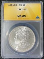 1881-S $1 MORGAN SILVER DOLLAR ANACS SLAB MINT STATE 65 BEAUTIFUL COIN
