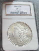 :1880-S S1$ SILVER MORGAN DOLLAR SEMI-PROOF-LIKE NGC SELECT MINT STATE 64 HIGHEST-GRADES