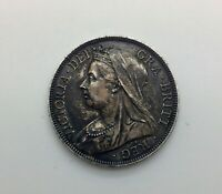 GREAT BRITAIN 1896   OLD VEILED HEAD QUEEN VICTORIA HALF CROWN NICE COIN COLOUR