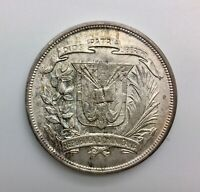 1952 DOMINICAN REPUBLIC ONE PESO KM22 LT  TONING BLAZING LUSTRE NICE COIN