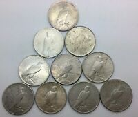 1922 P D S 1925 & 1926S  PEACE DOLLARS LOT OF 10 COINS PLEASING 1/2 ROLL