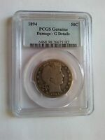 US 1894 SILVER COIN OF BARBER 50C PCGS G DETAILS