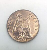 GREAT  BRITAIN 1901  PENNY VICTORIA RED NICE COIN FULLY LUSTROUS KM790 2
