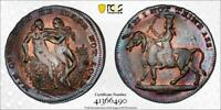 GREAT BRITAIN 1790 FARTHING SPENCE'S MAN OVER MAN PCGS MS63 TONED DH 1085