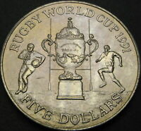 NEW ZEALAND 5 DOLLARS 1991   RUGBY WORLD CUP   AUNC   1701