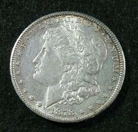 1878 S  -  MORGAN SILVER DOLLAR  -  AU  -  OLD LIGHT CLEANING