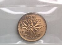 CANADA 1941 GEORGE VI SMALL CENT  ICCS MS 64 RED NICE  COLOUR SHARP COIN