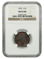 1835 1/2C NGC MINT STATE 65 BN - CLASSIC HEAD HALF CENTS 1809-1836 - LOVELY GEM
