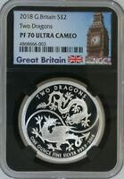 2018 GREAT BRITAIN 1OZ .999 SILVER 2 POUNDS TWO DRAGONS NGC
