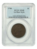 1798 1C PCGS EXTRA FINE 40 1ST HAIR STYLE - DRAPED BUST LARGE CENTS 1796-1807