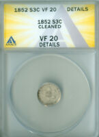1852 THREE CENT SILVER ANACS VF-20 DETAILS FREE S/H 2126495
