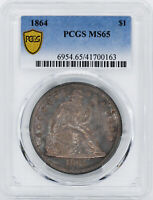 1864 LIBERTY SEATED S$1 PCGS MINT STATE 65